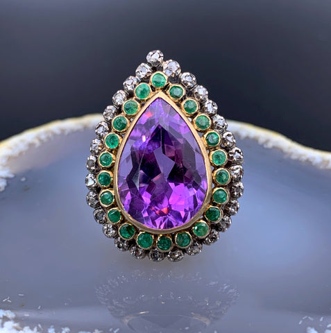 Antique 18K, Silver, Amethyst, Emerald & Diamond Ring