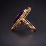 Victorian 10K Gold Antique Amethyst Navette Ring