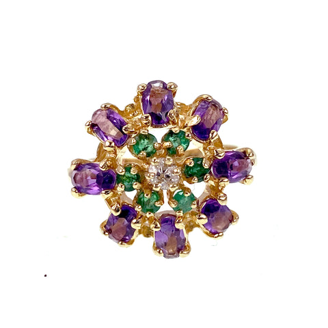 14K Gold Emerald Amethyst & Diamond Cluster Ring