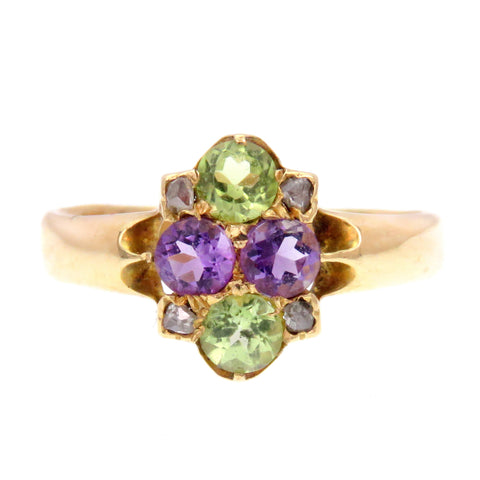 Amethyst Peridot and Diamond English Ring in 18k Gold