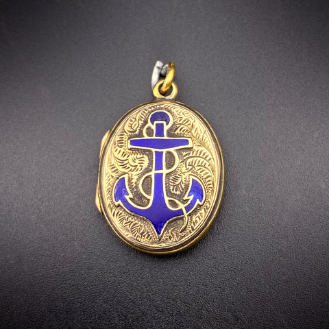Antique Victorian 9K Back & Front with Blue Enamel  Anchor Locket