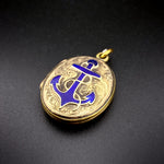 SOLD Antique Victorian 9K Back & Front with Blue Enamel  Anchor Locket