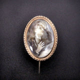 18 Karat Gold, Quartz & Sepia Anguished Gentleman Portrait Brooch