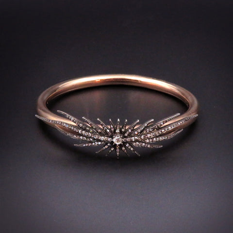 Annina Vogel 9K Gold w/ Rosecut Diamond Star Bangle Bracelet