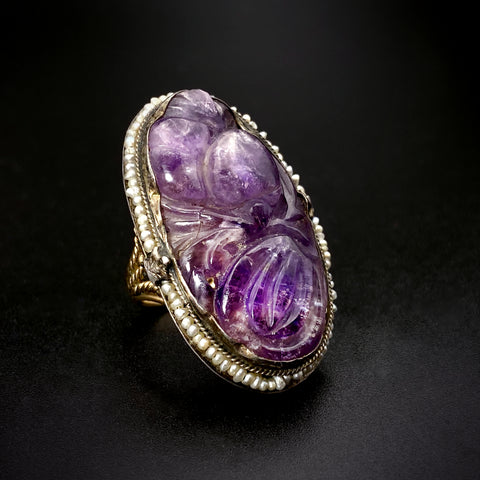 Antique 10K, Silver, Seed Pearl &  Carved Amethyst Ring