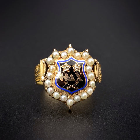 Antique 14K Seed Pearl & Enamel Fraternity Shield Conversion Ring