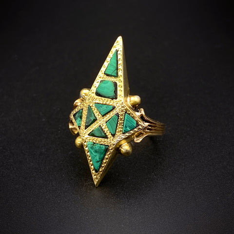 Antique GF, 14K & Malachite Conversion Ring
