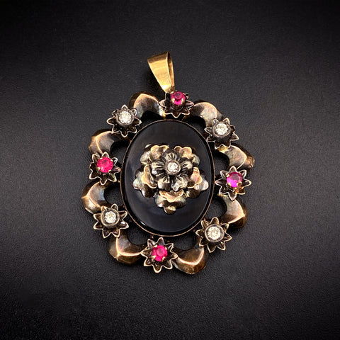 Antique 18K, Silver, Diamond, Paste, Ruby & Black Glass Pendant