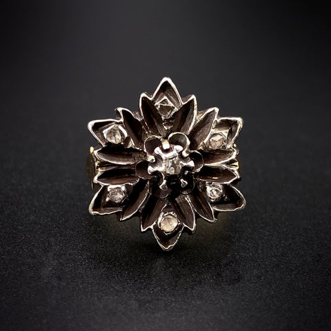 Antique 18K, Silver & Diamond Flower Ring