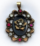 SOLD Antique 18K, Silver, Diamond, Paste, Ruby & Black Glass Pendant