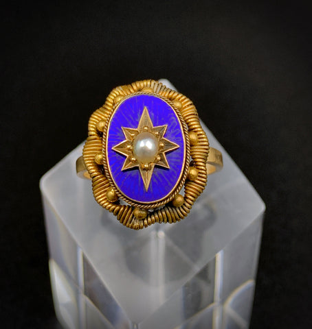 SOLD Gorgeous Victorian 14K Blue Enamel & Pearl Ring