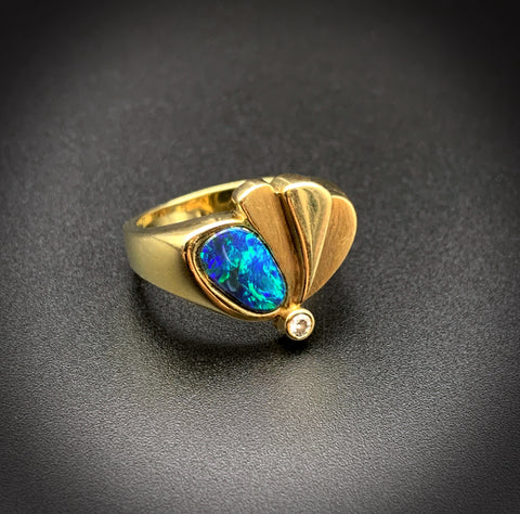 14K, Black Opal & Diamond Butterfly Ring