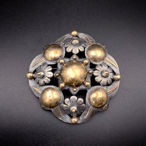 Large Silver & 18K Gold Brooch