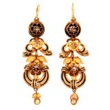 Victorian Black Enamel and 14k Gold Dangle Earrings
