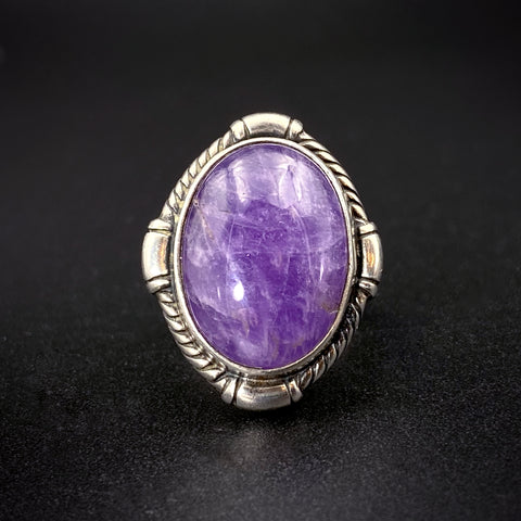 Sterling Silver & Purple Jade Ring