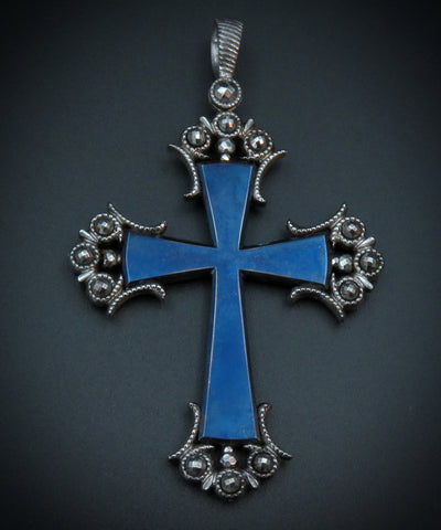 Gothic Revival Victorian Blued Steel Cross