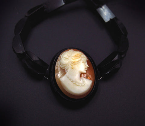 Victorian Carved Shell Lady Cameo Necklace with Jet