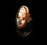 SOLD Carved Shell Cameo Diamond 10k Gold Ring