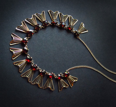 SOLD-Garnet & 14k Gold Necklace