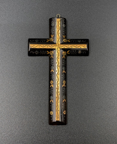 Vintage Cross made of Natural Horn & Gold Inlay