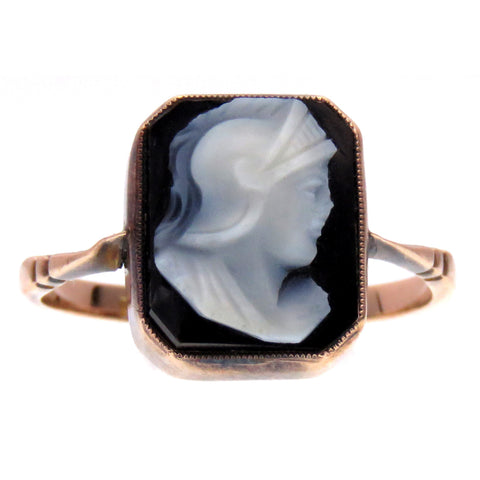 Cameo Centurion Portrait Onyx Ring in 9k Gold