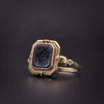 SOLD Edwardian French Jet Cameo Flip Ring 10K Gold & Silver
