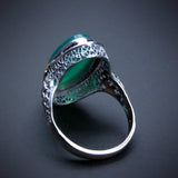 Art Deco 14K White & Yellow Gold & Chrysoprase Filigree Ring