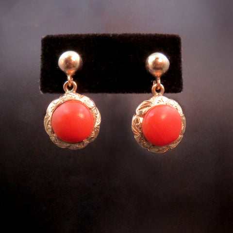 Vintage 14K & Coral Drop Earrings