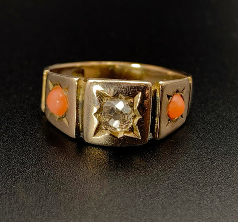 12 Karat Gold, Star Set Diamond & Coral Ring