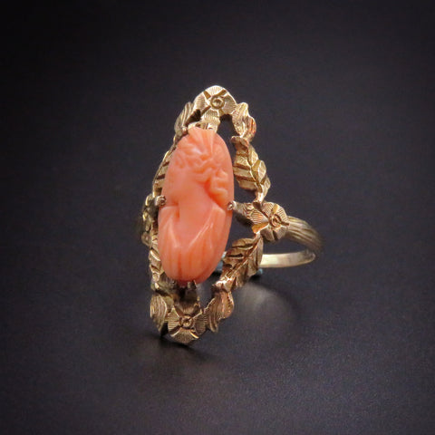 10 Karat Gold Victorian Carved Coral Cameo Ring