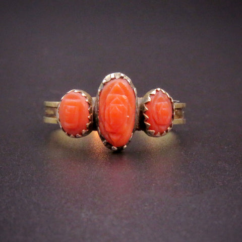 Victorian 18K Gold, Silver & Carved Coral Ring