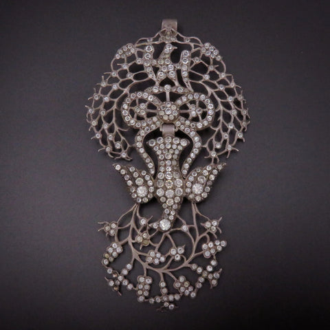 French 19th Century Silver and Paste Saint Esprit Pendant
