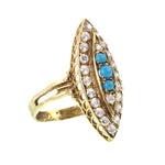 14K Gold, Turquoise & Paste Navette Ring