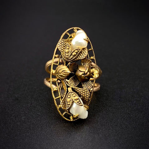 Antique 10K Gold-Filled Seashell Navette Conversion Ring
