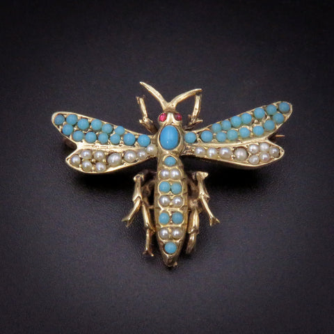 Mid-Century Victorian Revival 14k Gold, Pearl & Turquoise Wasp Brooch