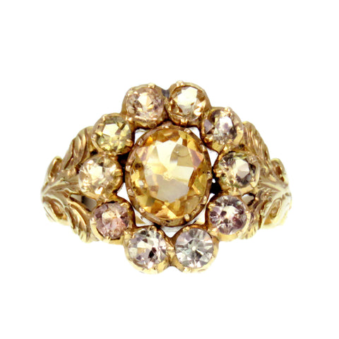Early 19th Century Topaz Flower 14k Gold Conversion Ring