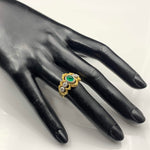 18K Gold Emerald & Diamond Ring