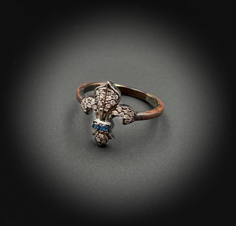Silver, Rose-cut Diamonds, Blue Diamonds, Fleur-de-lis Ring