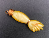 10K Gold, Celluloid or Bakelite Cream Figa Charm