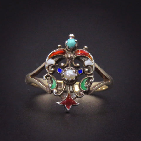 English ANTIQUE Enamel & Pearl Shield Ring
