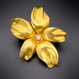 Antique 14K Gold & Diamond Flower Brooch/Pendant