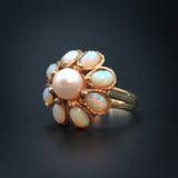 Opals & Pearl 14k Flower Estate Ring