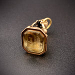 Antique 9K Rose Gold Fob with Intaglio-Carved Topaz