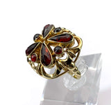 SOLD Antique 14K Gold Garnet Dome Ring