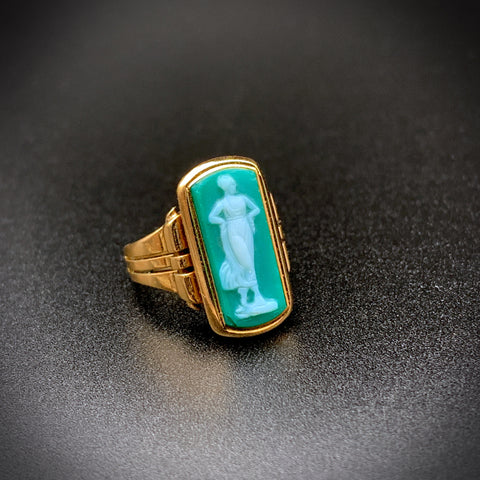 SOLD--18K Victorian Carved Green Agate Cameo Ring of Classical Lady