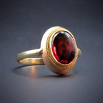 SOLD-14K & Reverse Faceted Garnet Conversion Ring