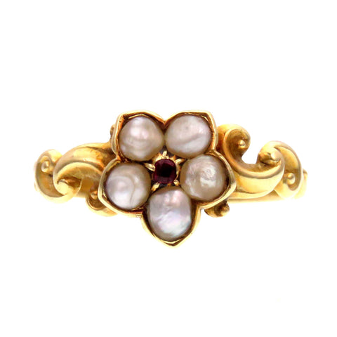 Sweet Garnet and Pearl 18K Gold Flower Ring