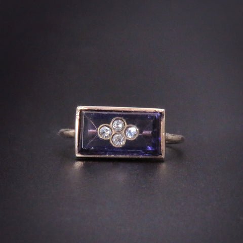 Edwardian Deep Amethyst Conversion Ring with 4  Embedded Diamonds