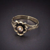 Black Enamel & Pearl 14k & 9k Ring