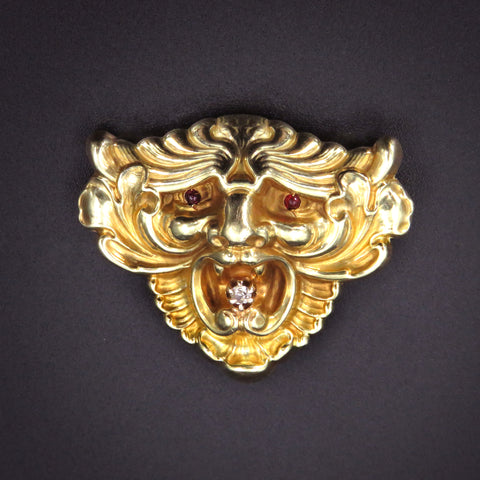 Art Nouveau 14K Gold Lion Face with Diamond & Ruby Eyes Brooch